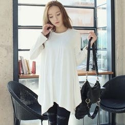 REDOPIN - Long-Sleeve A-Line Handkerchief Hem Top
