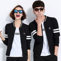 Azure - Couple Matching Set: Zip Jacket + Pants / + Short Sleeve T-Shirt