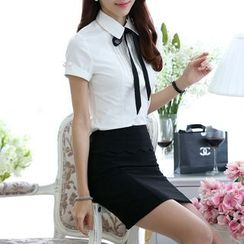 Caroe - Set: Short-Sleeve Tie-Neck Dress Shirt + Pencil Skirt