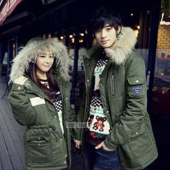 Evolu Fashion - Faux Fur Trim Hooded Couple Parka