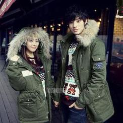 Evolu - Faux Fur Trim Hooded Couple Parka