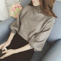 QZ Lady - Mutton Sleeve Mock-Turtleneck Sweater