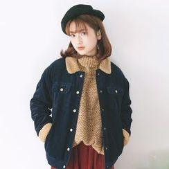 Kuki Cat - Fleece-Trim Corduroy Cropped Jacket