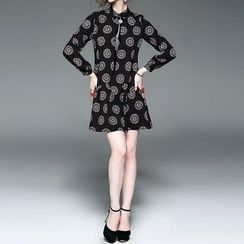 Alaroo - Print Collared A-Line Dress with Faux Leather Tie