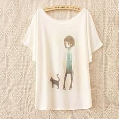 Maymaylu Dreams - 女孩與貓咪多圖案短袖t恤上衣