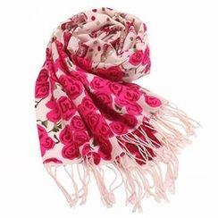 RGLT Scarves - Fringed Floral Wool Scarf
