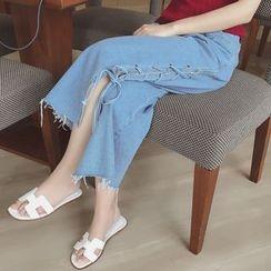 Munai - Tie-Up Denim Cropped Wide-Leg Pants
