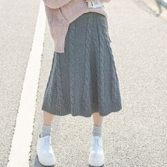 Moriville - Cable Knit Midi Skirt