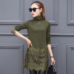 Supernova - Lace Panel Turtleneck Long Top