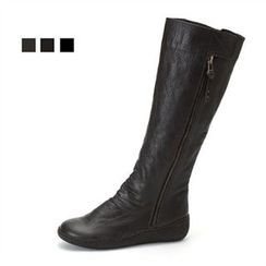 MODELSIS - Zip-Detail Genuine Leather Knee Boots