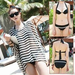 Rachel Swimwear - 套裝: 掛脖比基尼泳衣 + 條紋罩衫