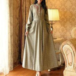 MUSI - Floral Print A-Line Maxi Dress