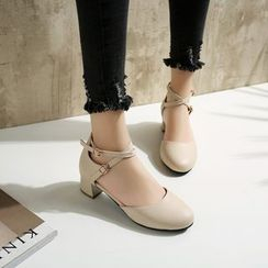 Megan - Faux-Leather Chunky-Heel Sandals