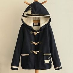 Nycto - Hooded Embroidered Woolen Coat