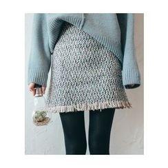 Chlo.D.Manon - Fringe-Hem Mini Tweed Skirt