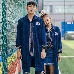 Simpair - Couple Matching Long Denim Jacket