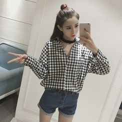 Bloombloom - Halter Loose Fit Gingham Shirt