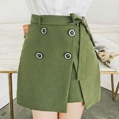 Jack Grace - Tie-Waist Buttoned A-Line Skirt
