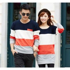 Porspor - Color-Block Couple Knit Top
