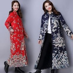 Diosa - Dragon Print Long Padded Coat