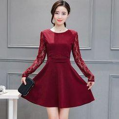 Sienne - Lace Panel Long-Sleeve Dress