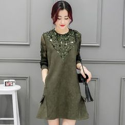 Sienne - Lace Panel Long-Sleeve A-line Dress