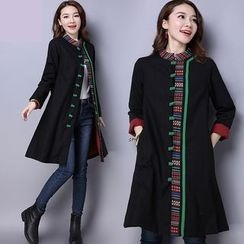 Diosa - Embroidered Mandarin Collar Long Coat