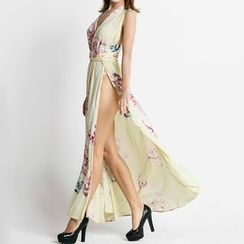 Flobo - Sleeveless Cutout Slit-Front Maxi Dress