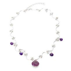 Keleo - Silver, amethyst, colorstone necklace