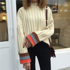 Dute - Contrast Trim Ribbed Sweater