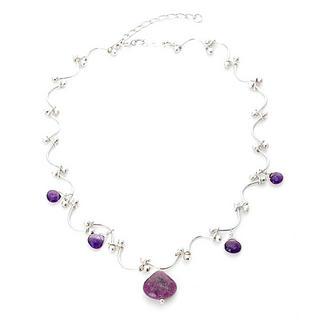 Keleo - Silver, amethyst, colorstone necklace