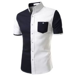 TheLees - Short-Sleeve Color-Block Shirt