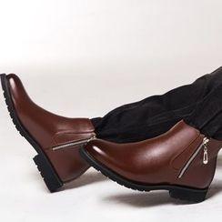 SHEN GAO - 刷毛襯裡側拉鏈踝靴