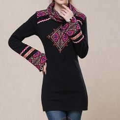 Diosa - Embroidered Cowl Neck Long-Sleeve Top