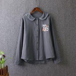 藍玫瑰衣坊 - 碎花刺繡長袖襯衫
