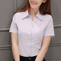 Eferu - Plain Short-Sleeve Shirt