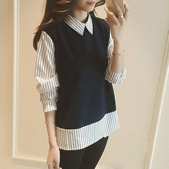 MayFair - Mock Two-Piece Striped Blouse
