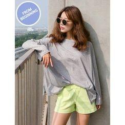 FROMBEGINNING - Drop-Shoulder Long-Sleeve Cotton T-Shirt