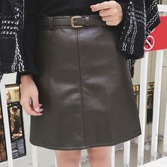 Dute - Faux Leather A-line Skirt