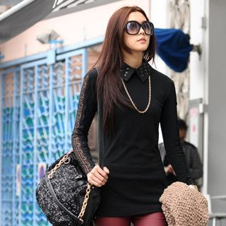 59 Seconds - Studded Collar Lace Panel Top
