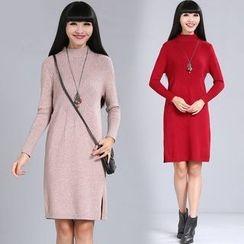 Diosa - Mock Neck Plain Long Sleeve Knit Dress