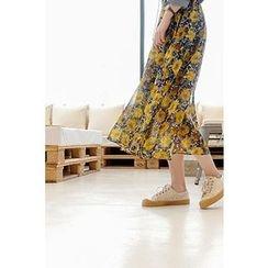 CHERRYKOKO - Floral Chiffon Long Flare Skirt