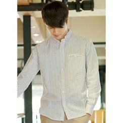 JOGUNSHOP - Mandarin-Collar Welt-Pocket Shirt