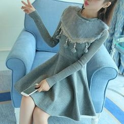 Elinor - Pompom Furry Trim Long Sleeve A-Line Mini Dress