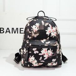 Bibiba - Floral Studded Faux Leather Backpack