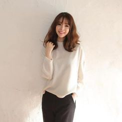 Envy Look - Mock-Neck Colored Cotton Top