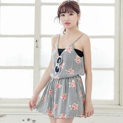 Tokyo Fashion - Sleeveless Floral Striped Playsuit