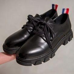 Mancienne - Genuine-Leather Platform Lace-Up Shoes