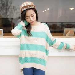 Tokyo Fashion - Color-Block Open-Knit Sweater