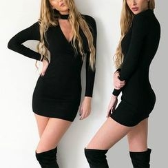 Dream a Dream - Ribbed Long Sleeve Sheath Cutout Minidress